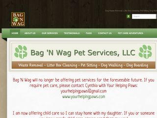 Bag N Wag Pet Services LLC | Boarding