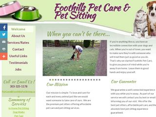 Foothills Pet Care  Pet Sitting | Boarding