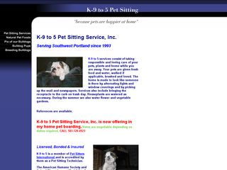 K 9 to 5 Pet Sitting Service Inc. Portland