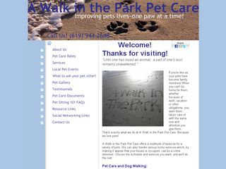 A Walk in the Park Pet Care San Diego